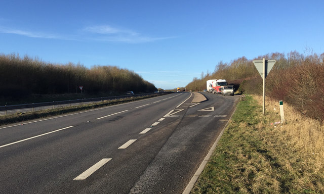 Layby on the A14 eastbound nearing Junction 1