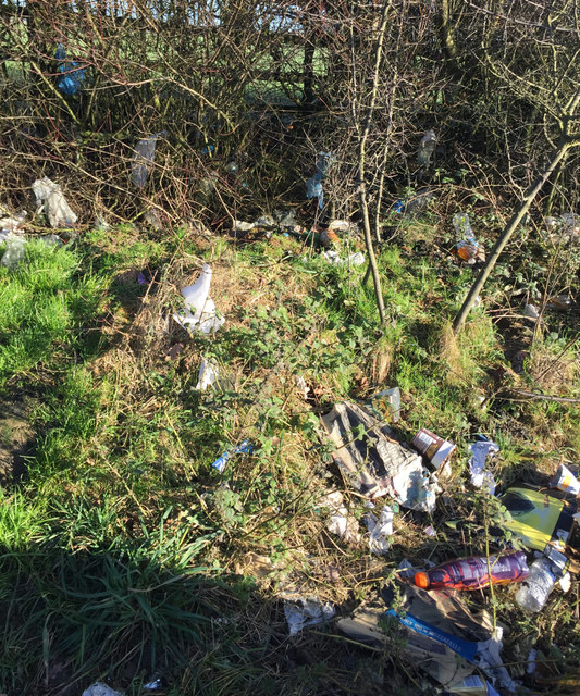 Litter in a layby on the A14 eastbound