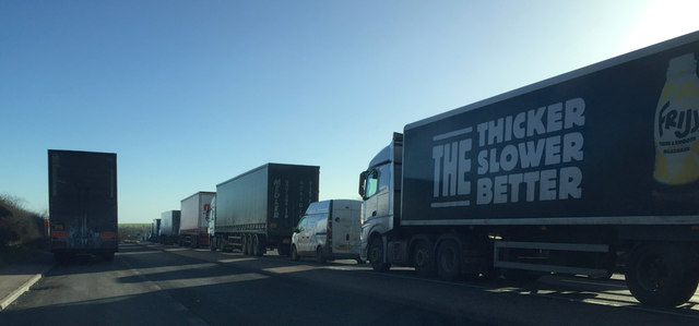 Queue on the A14 eastbound nearing Junction 1