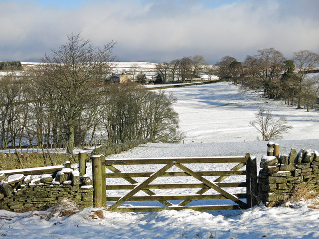 The valley of Shield Burn below Portgate in the snow