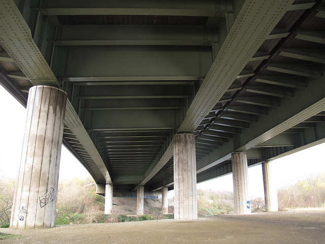 M1 Aire Valley Viaduct, from below