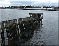 NZ3668 : Derelict pier along the River Tyne at South Shields by Mat Fascione
