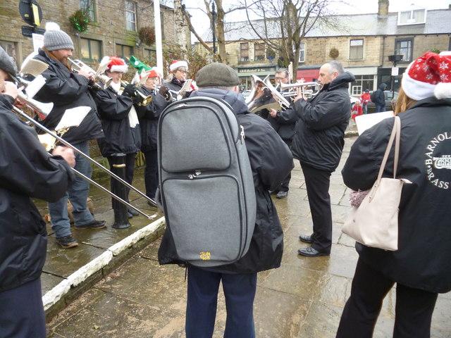 Barnoldswick, Town Square:  Brass band playing