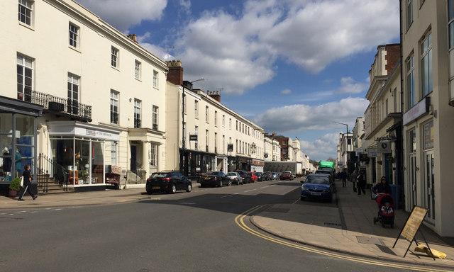 Looking east along Warwick Street, towards the Parade, Royal Leamington Spa