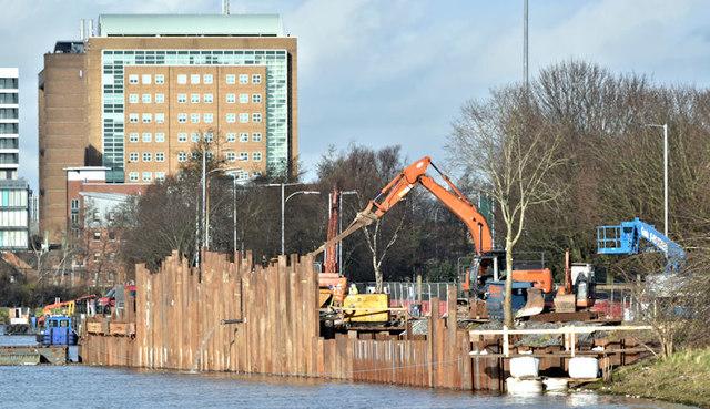 Revetment works, River Lagan, Belfast - February 2018(1)