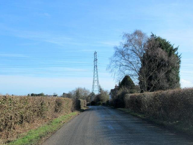 Doverdale Lane Near Doverdale With Electricity Pylon