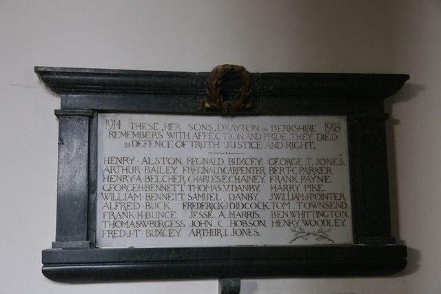 First world war roll of honour