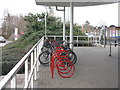TL3763 : Cycle rack at Bar Hill by M J Richardson