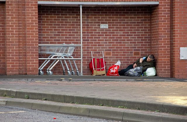 Rough sleeping in an alcove in Barnstaple