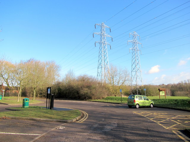 Pylons Passing Over Sandwell Valley Country Park Car Park