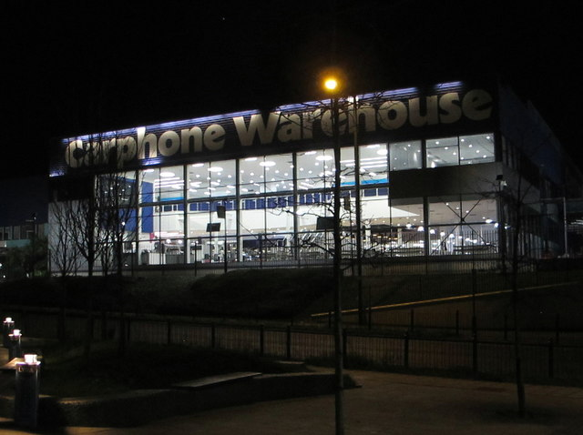Carphone Warehouse head office North Acton, night view