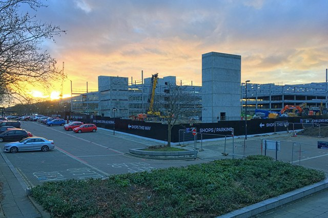 New car park going up as the sun goes down