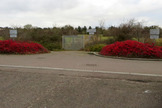 Gate onto development land by Campbell Park