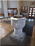 TQ2160 : St Martin of Tours Epsom: font by Basher Eyre
