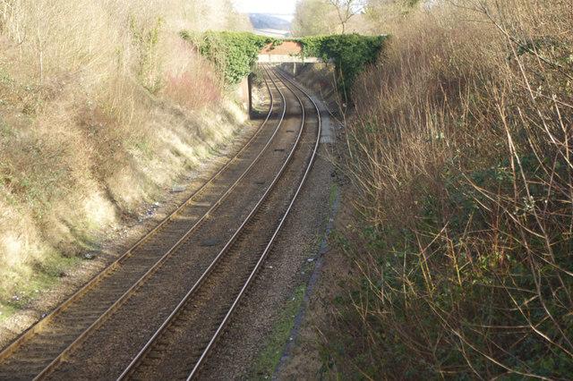 Railway east of Dorking West Station