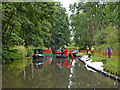 SO8274 : One way canal traffic north of Stourport in Worcestershire by Roger  Kidd