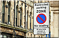 "J3474 : ""Restricted parking zone"" sign, Belfast (February 2018) by Albert Bridge"