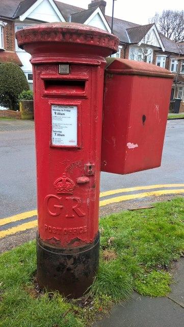 GR postbox with pouch box on Cheyne Walk, Grange Park