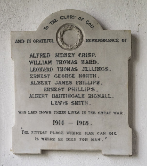 St Michael, Longstanton - Wall monument WWI