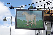 TQ1649 : Sign for the White Horse, Dorking by Stephen McKay