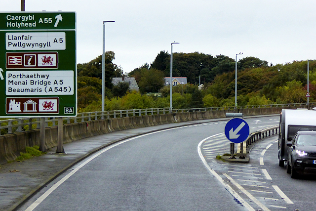The A55 at Menai Bridge