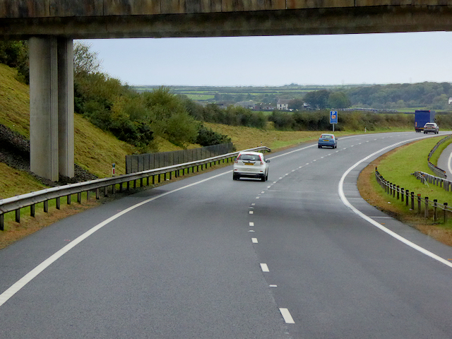 North Wales Expressway, Westbound near to Llangristiolus