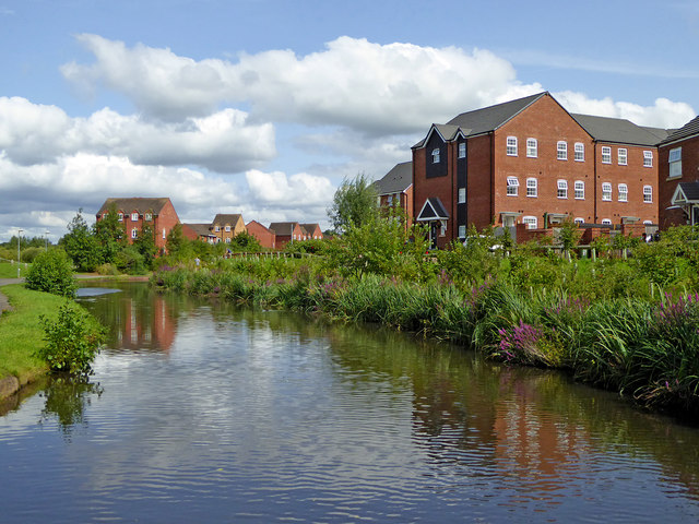 Canal and apartments in Kidderminster in Worcestershire