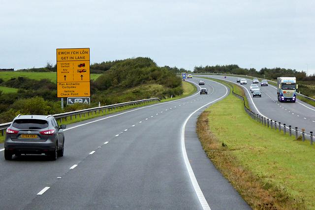 North Wales Expressway near to Bryngwran