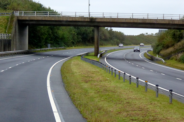 Bridge over the North Wales Expressway near to Valley