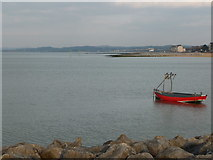 SD4364 : Boat moored near Shell bed Flat, Morecambe by Christine Johnstone