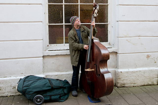 Busking with a double bass in Barnstaple High Street