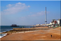TQ3103 : Towards the West Pier from the Palace Pier, Brighton by Mike Pennington