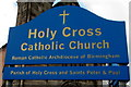 SK1108 : Holy Cross Catholic Church name sign, Lichfield by Jaggery