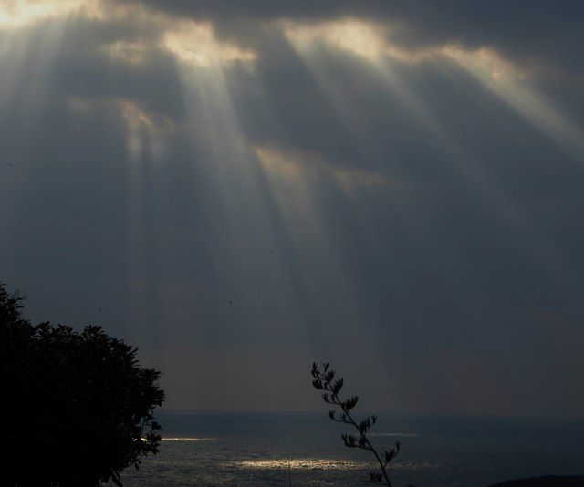 Sunlight through the clouds, Falmouth Bay