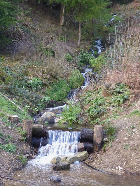 Small waterfall, Terras Hill Wood near Restormel