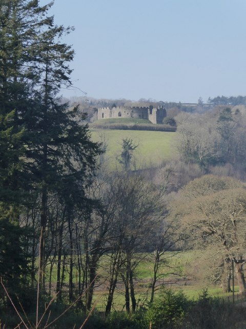 Restormel Castle from woods above Restormel
