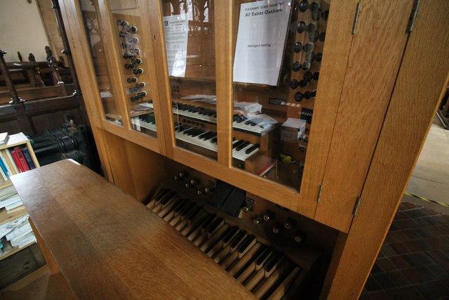 Organ console, All Saints' church, Oakham