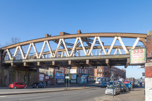 The rail bridge over Great Western Road at Anniesland in Glasgow's west end