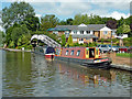 SJ9420 : Moored narrowboats by Stafford Boat Club by Roger  Kidd