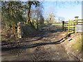 SJ1755 : Gateway and gatepost east of Rhos goch by John S Turner