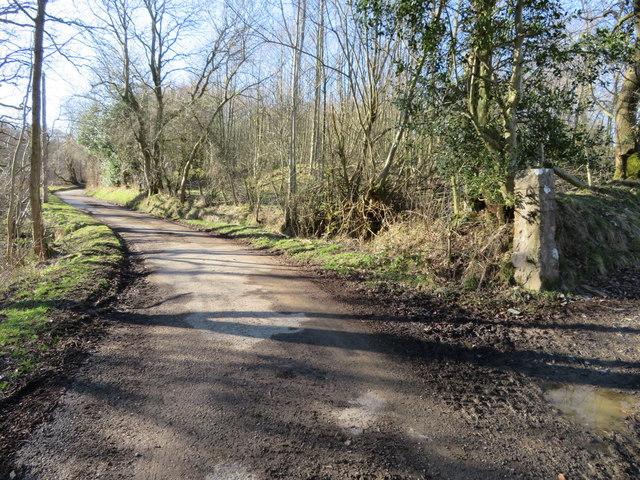 Unclassified road west of Llanarmon yn Ial and a gatepost