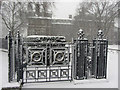 TQ3078 : Snowy gates at the Tate Gallery : Week 9