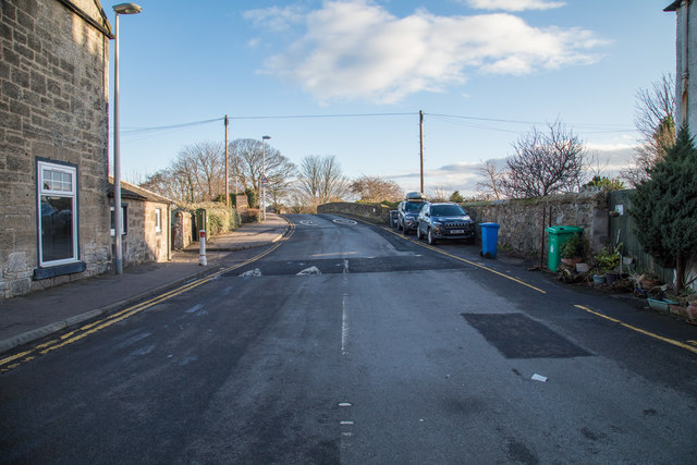 A view up Hawkcraig Road from Main Street in Aberdour