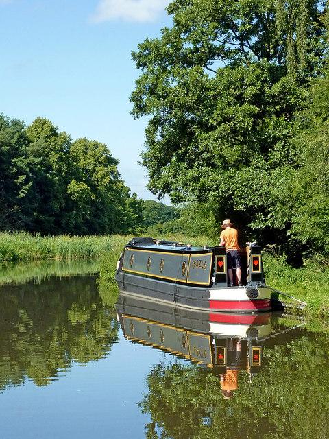 Moored narrowboat near Tixall in Staffordshire