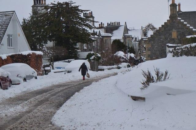 Snow in Springwood Terrace, Peebles