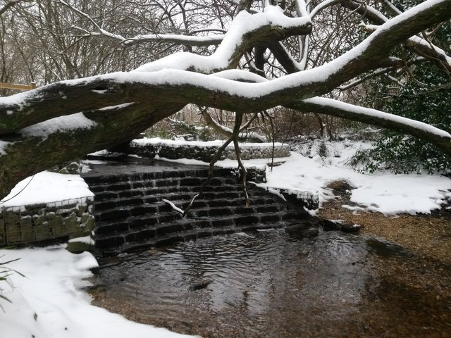 Kinson: Kinson Common waterfall in snow