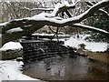 SZ0696 : Kinson: Kinson Common waterfall in snow by Chris Downer