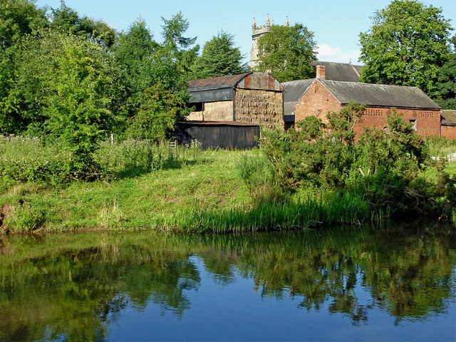 Canal and farm buildings in Colwich, Staffordshire