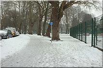 SX9164 : Snow, Upton Park by Derek Harper