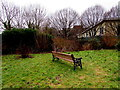 SO5039 : Wooden and metal bench on the north side of Barton Road, Hereford by Jaggery